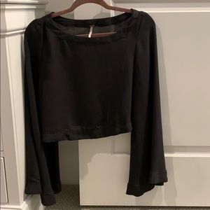 Black free people long sleeve flare sleeve top